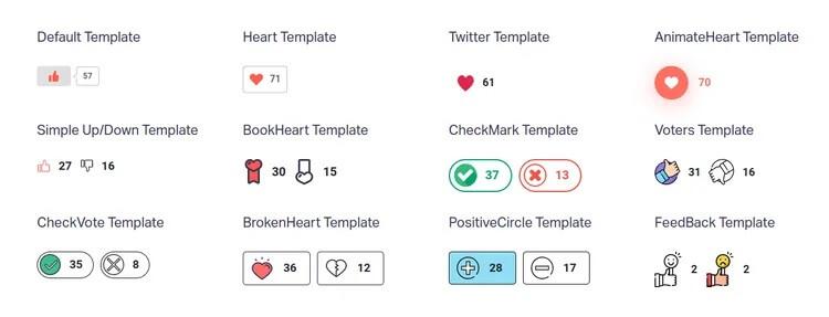 قالب های متنوع دکمه های لایک و دیسلایک WP ULike templates